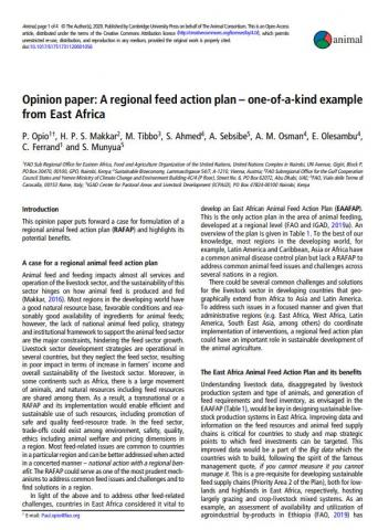 Opinion paper: A regional feed action plan – one-of-a-kind example from East Africa