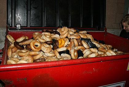 Discarded bagels in New York